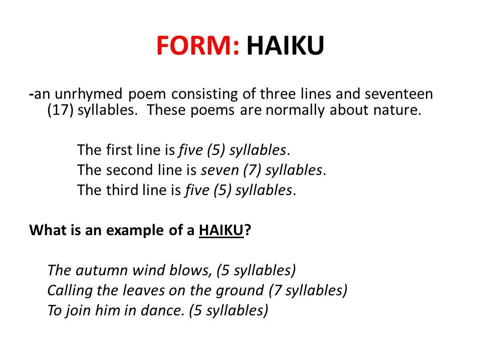 FORM: HAIKU