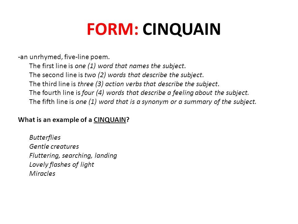 FORM: CINQUAIN