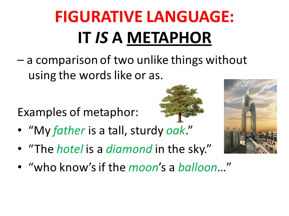 FIGURATIVE LANGUAGE: IT IS A METAPHOR