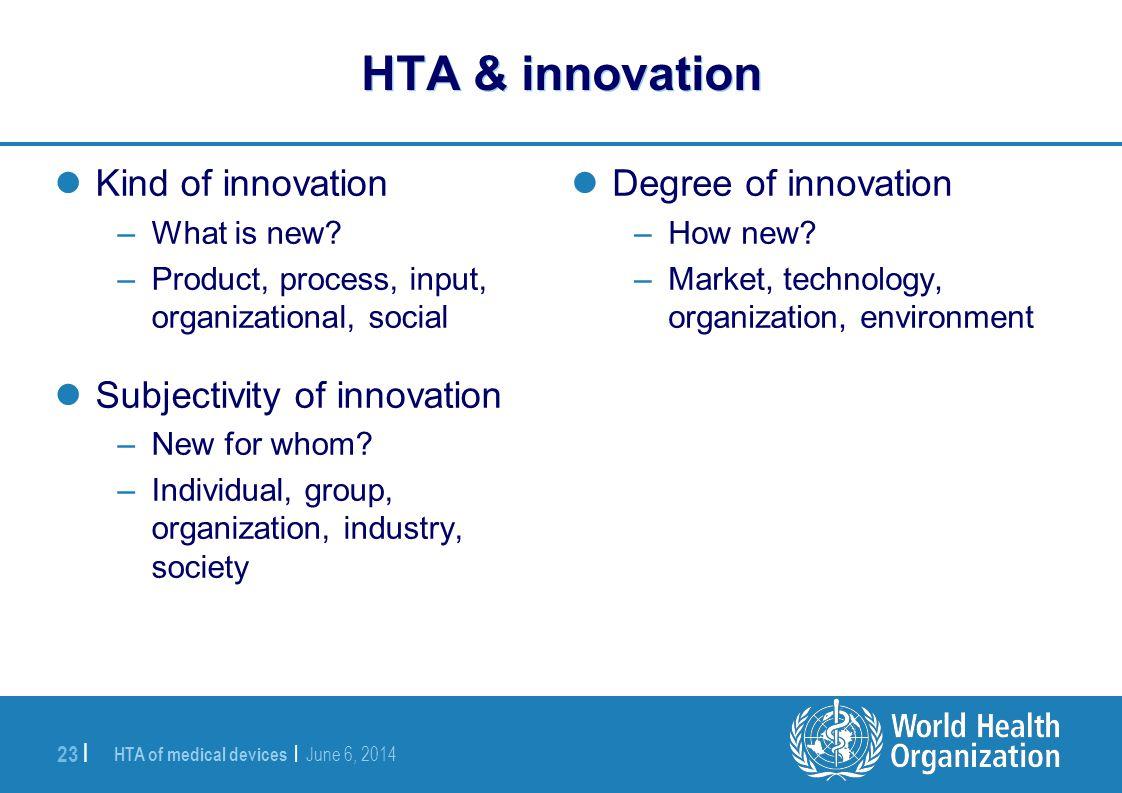 HTA & innovation Kind of innovation Subjectivity of innovation