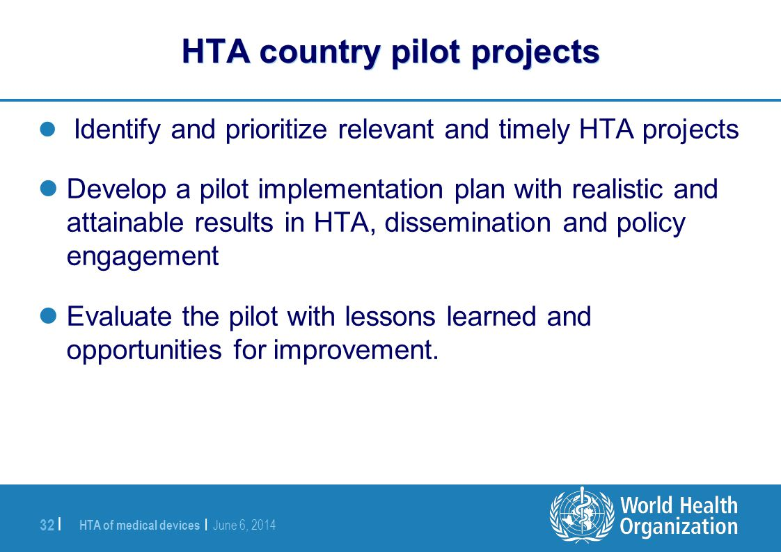 HTA country pilot projects