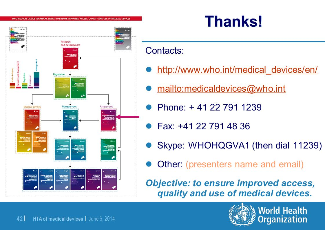 Thanks! Contacts: http://www.who.int/medical_devices/en/