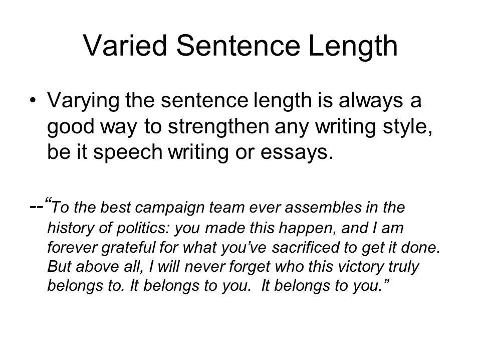 Varied Sentence Length
