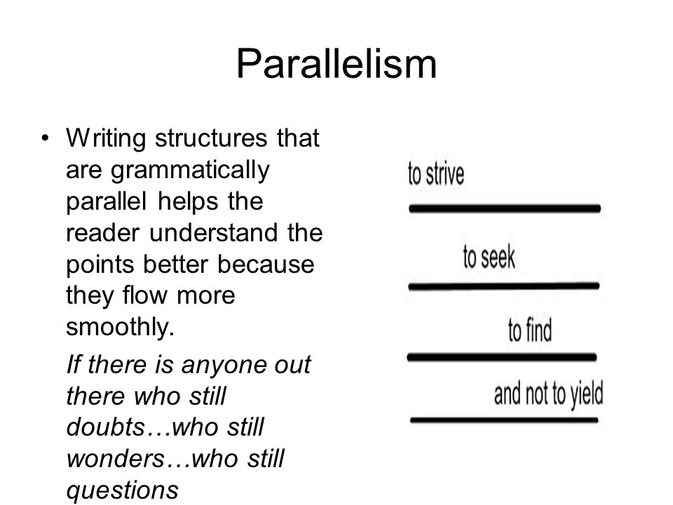 Parallelism Writing structures that are grammatically parallel helps the reader understand the points better because they flow more smoothly.