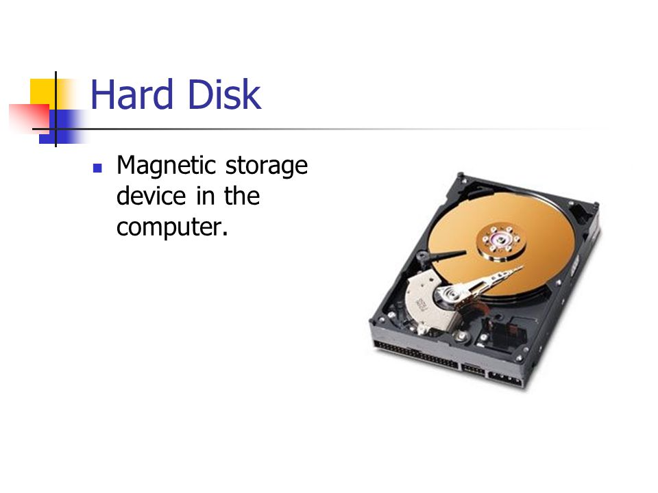 Hard Disk Magnetic storage device in the computer.