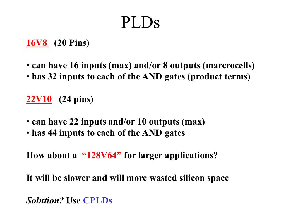 PLDs 16V8 (20 Pins) can have 16 inputs (max) and/or 8 outputs (marcrocells) has 32 inputs to each of the AND gates (product terms)