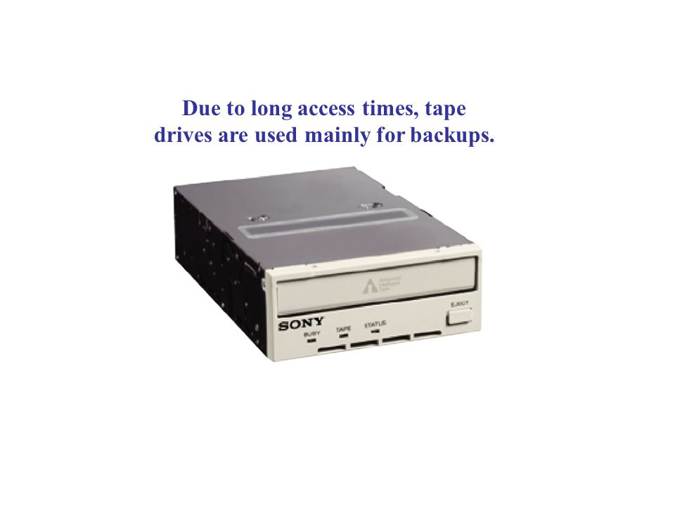 Due to long access times, tape drives are used mainly for backups.