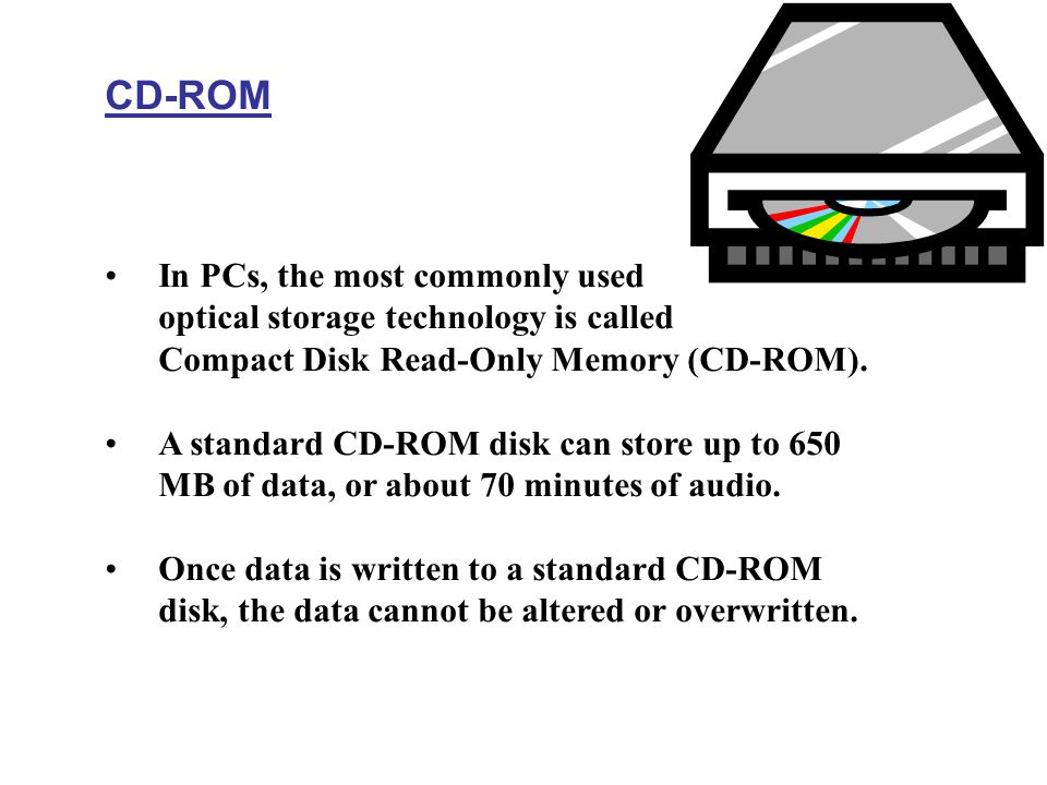 CD-ROM In PCs, the most commonly used