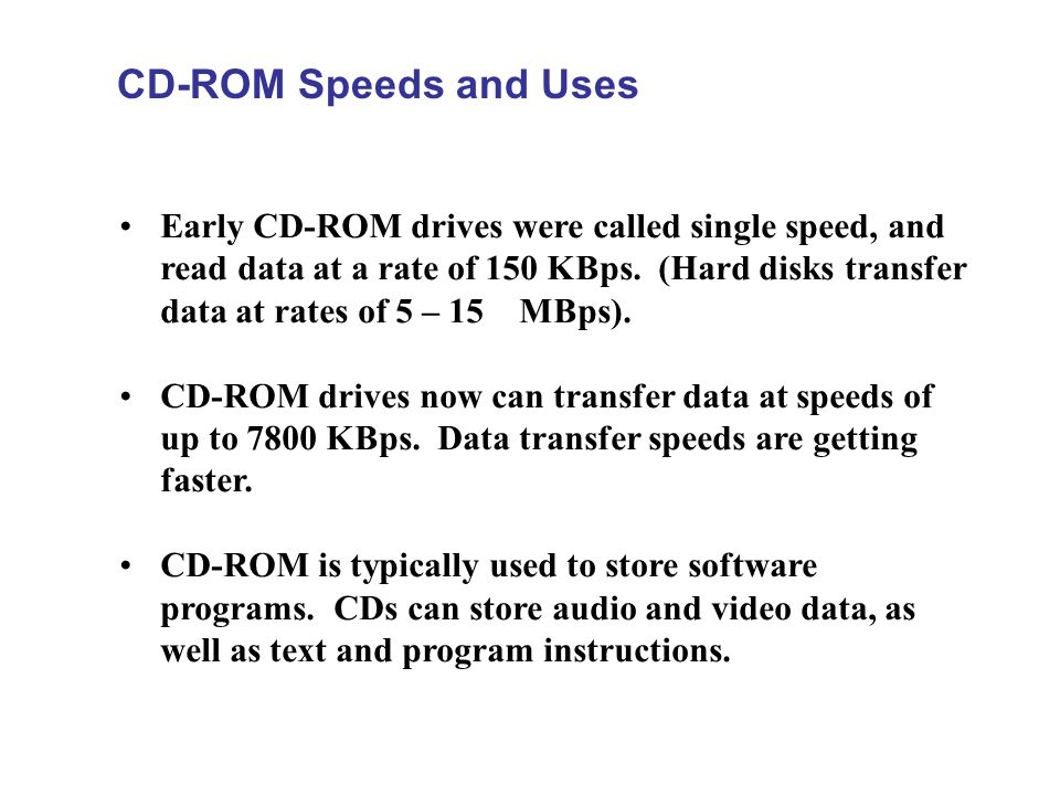 CD-ROM Speeds and Uses
