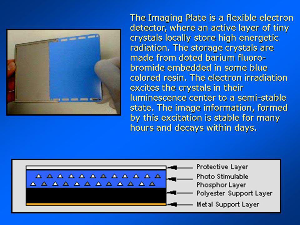 The Imaging Plate is a flexible electron detector, where an active layer of tiny crystals locally store high energetic radiation.