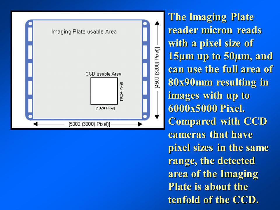 The Imaging Plate reader micron reads with a pixel size of 15µm up to 50µm, and can use the full area of 80x90mm resulting in images with up to 6000x5000 Pixel.