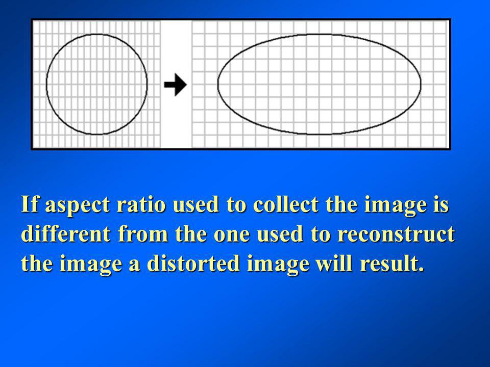 If aspect ratio used to collect the image is different from the one used to reconstruct the image a distorted image will result.