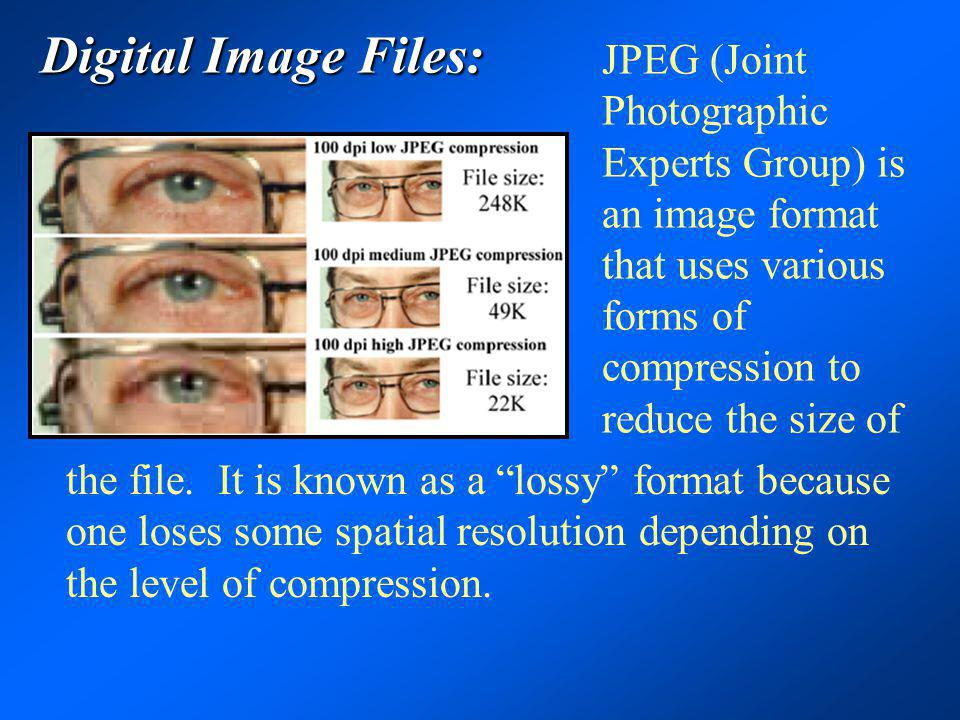 Digital Image Files: JPEG (Joint Photographic Experts Group) is an image format that uses various forms of compression to reduce the size of.