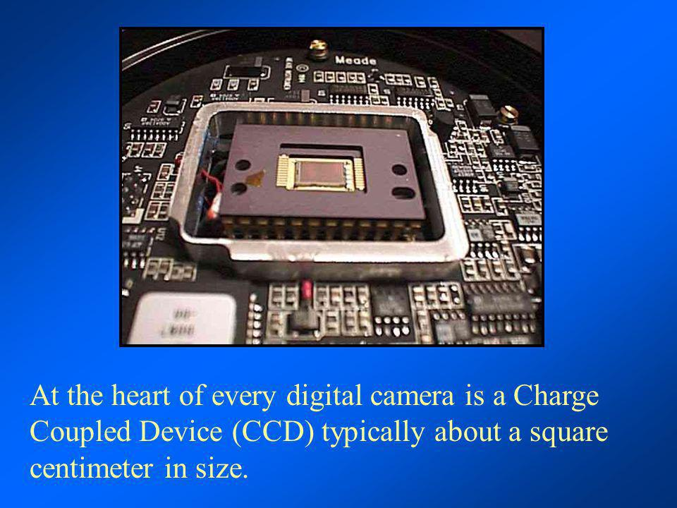 At the heart of every digital camera is a Charge Coupled Device (CCD) typically about a square centimeter in size.