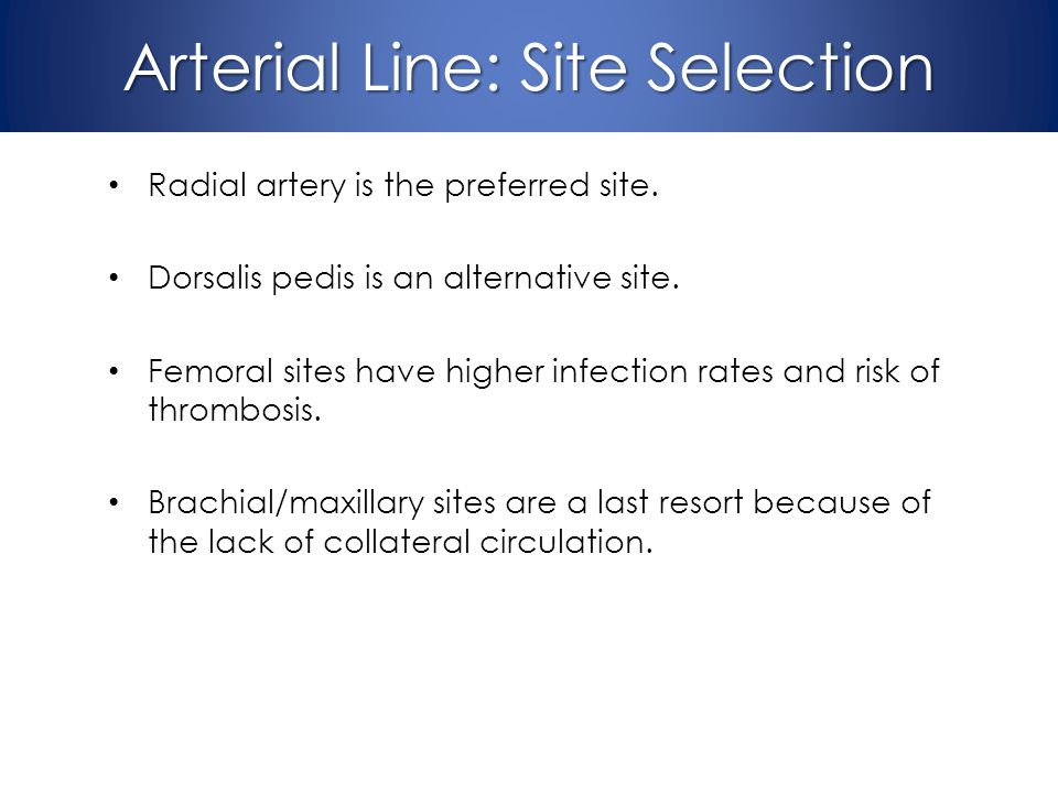 Arterial Line: Site Selection