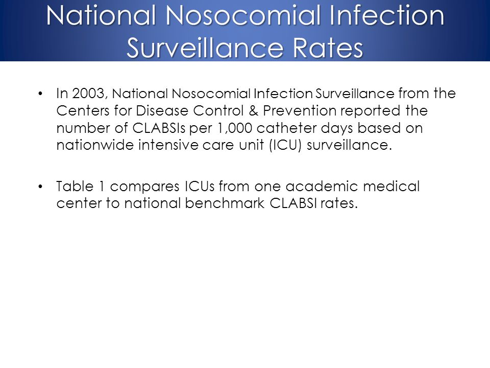 National Nosocomial Infection Surveillance Rates