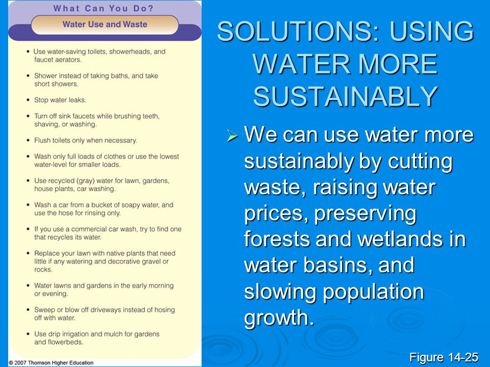 SOLUTIONS: USING WATER MORE SUSTAINABLY