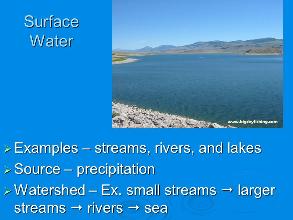 Surface Water Examples – streams, rivers, and lakes