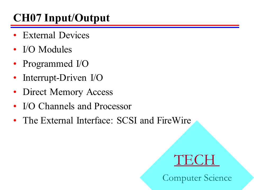 TECH CH07 Input/Output External Devices I/O Modules Programmed I/O