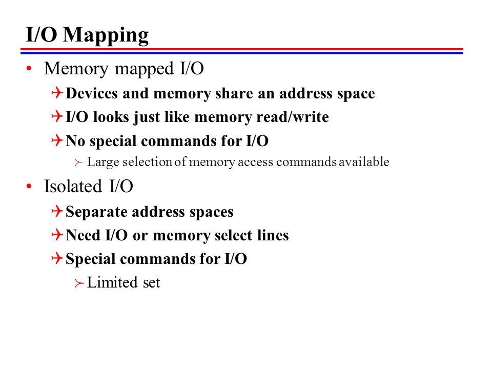 I/O Mapping Memory mapped I/O Isolated I/O