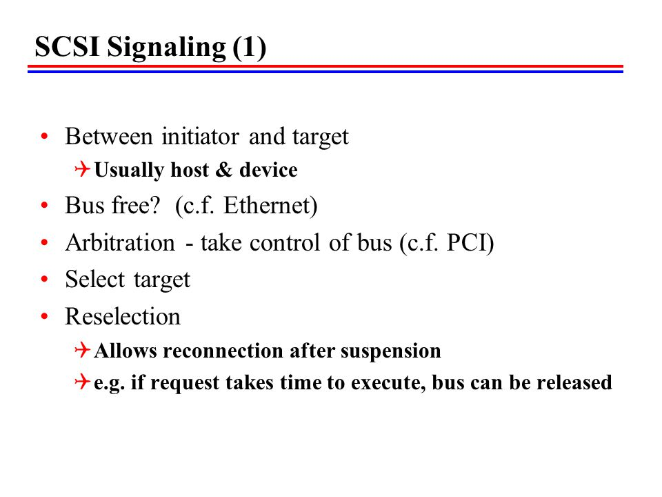 SCSI Signaling (1) Between initiator and target