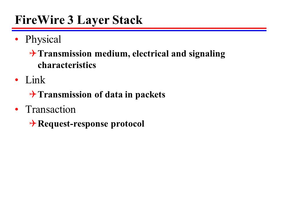 FireWire 3 Layer Stack Physical Link Transaction