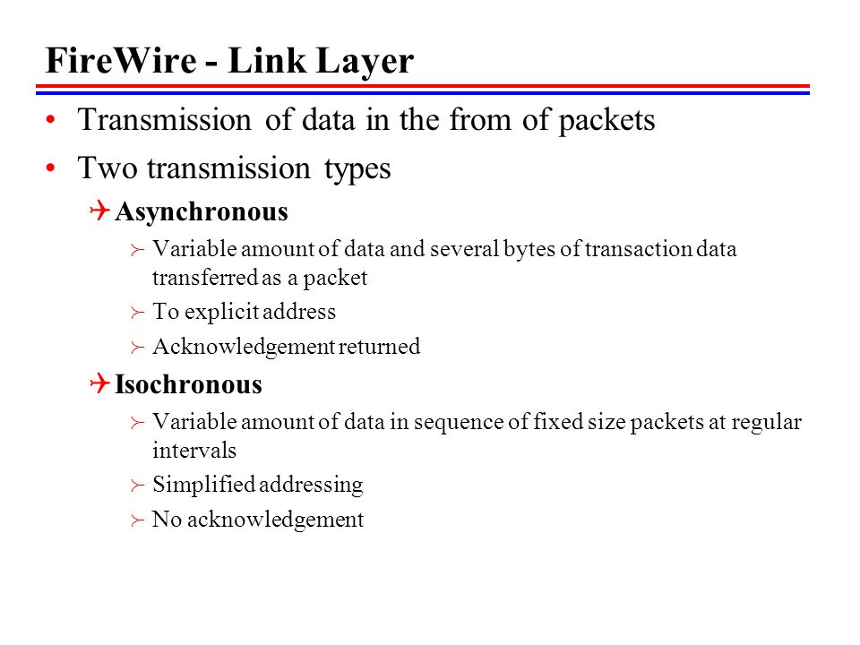 FireWire - Link Layer Transmission of data in the from of packets