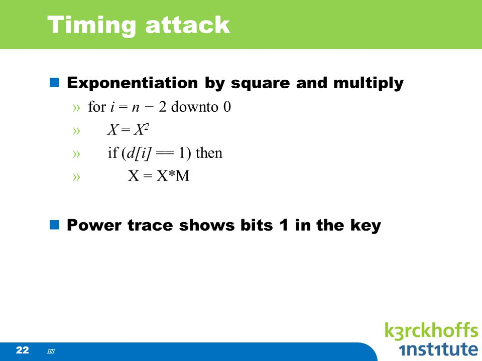 Timing attack Exponentiation by square and multiply