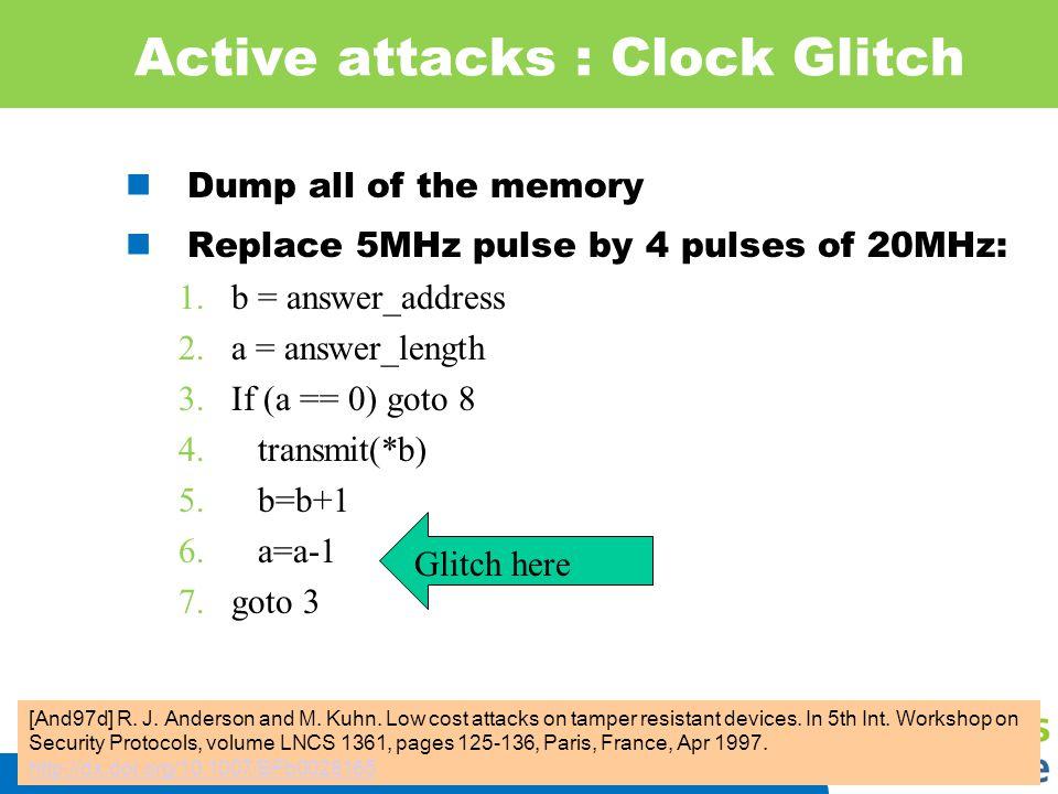 Active attacks : Clock Glitch