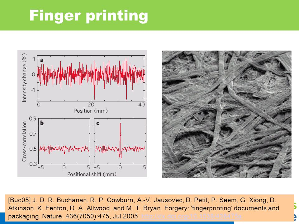 Finger printing Run a laser over paper and measure intensity of scattered light. 1mm 2degree tolerance!