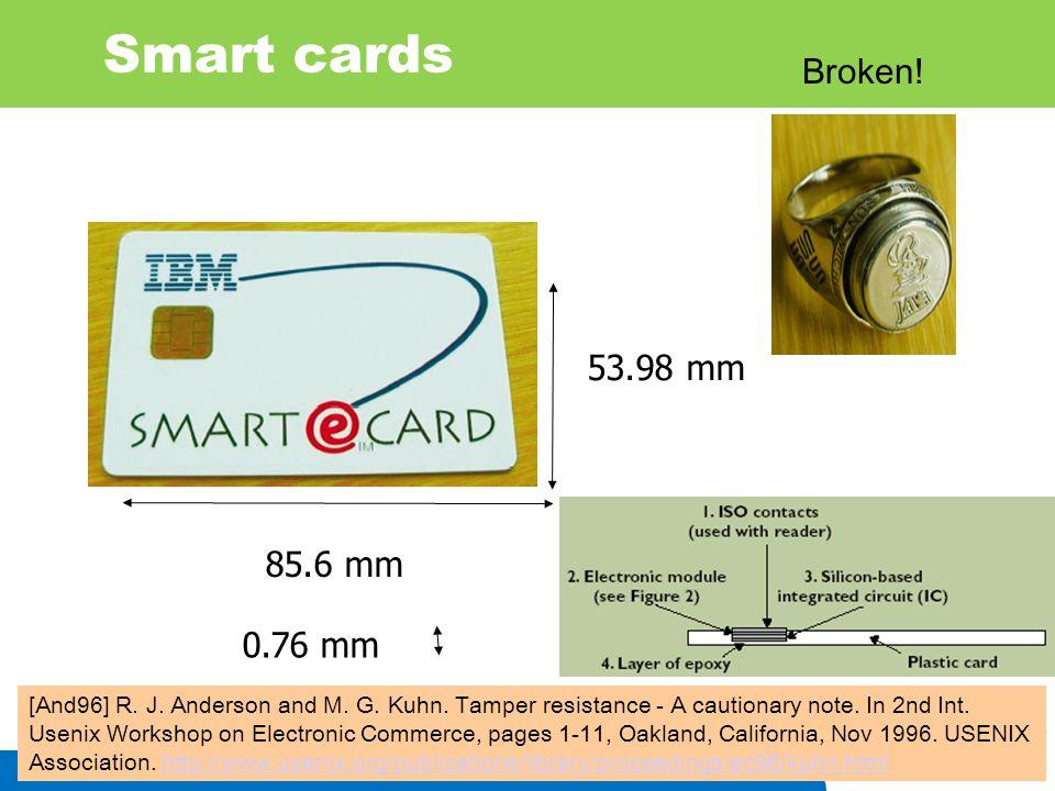 Smart cards Broken! 53.98 mm 85.6 mm 0.76 mm