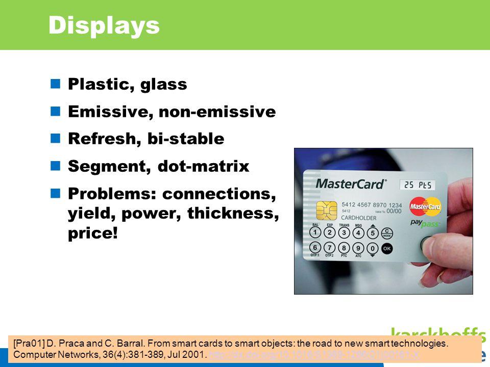 Displays Plastic, glass Emissive, non-emissive Refresh, bi-stable