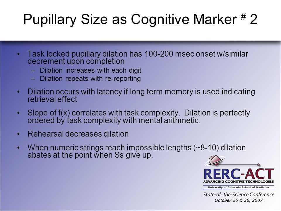 Pupillary Size as Cognitive Marker # 2