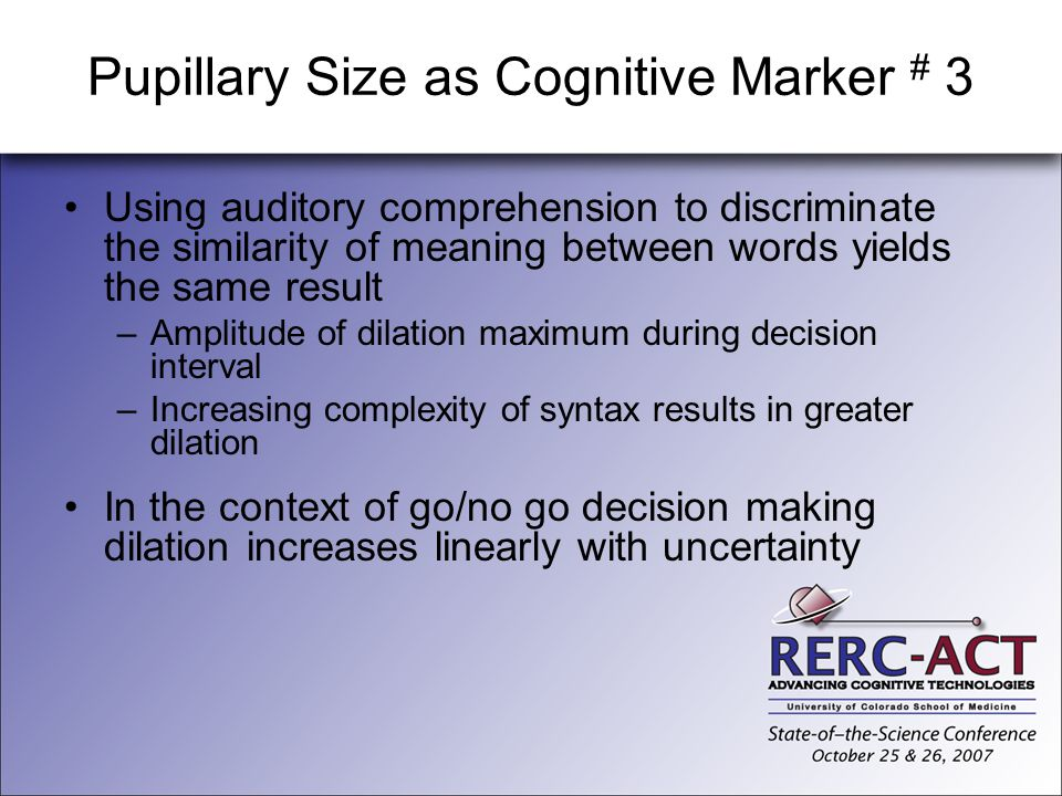 Pupillary Size as Cognitive Marker # 3
