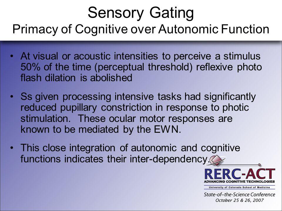Sensory Gating Primacy of Cognitive over Autonomic Function