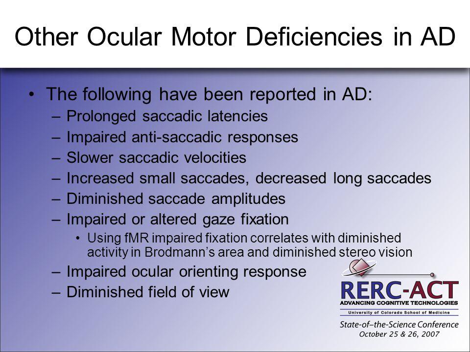 Other Ocular Motor Deficiencies in AD