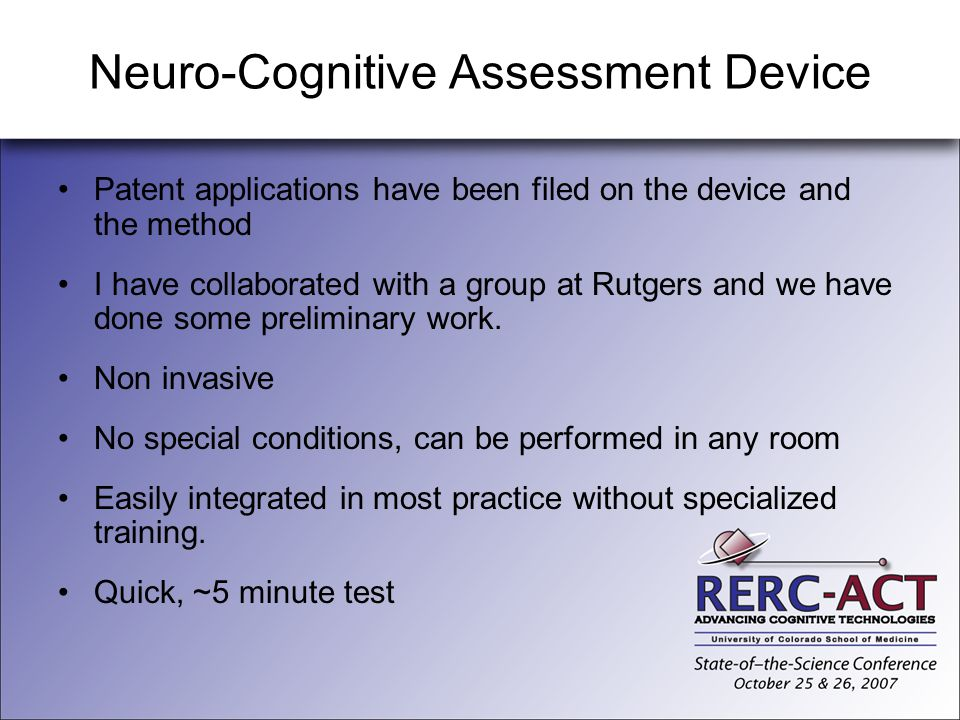 Neuro-Cognitive Assessment Device