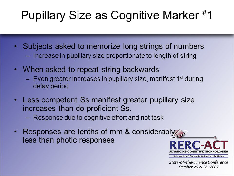 Pupillary Size as Cognitive Marker #1