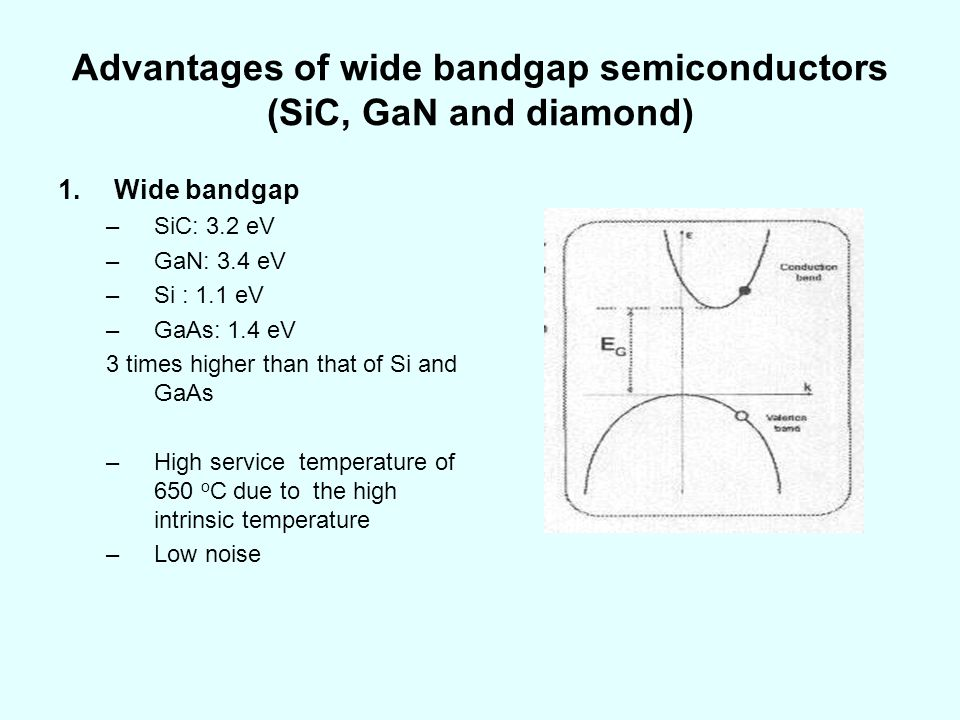 Advantages of wide bandgap semiconductors (SiC, GaN and diamond)