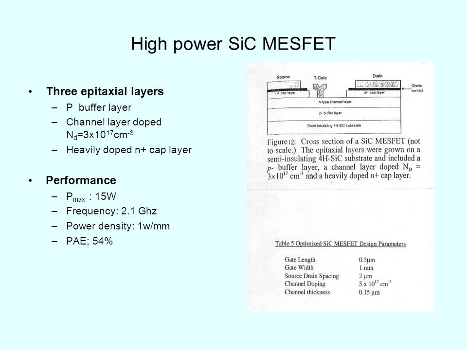 High power SiC MESFET Three epitaxial layers Performance