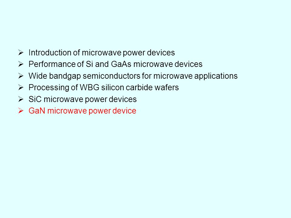 Introduction of microwave power devices