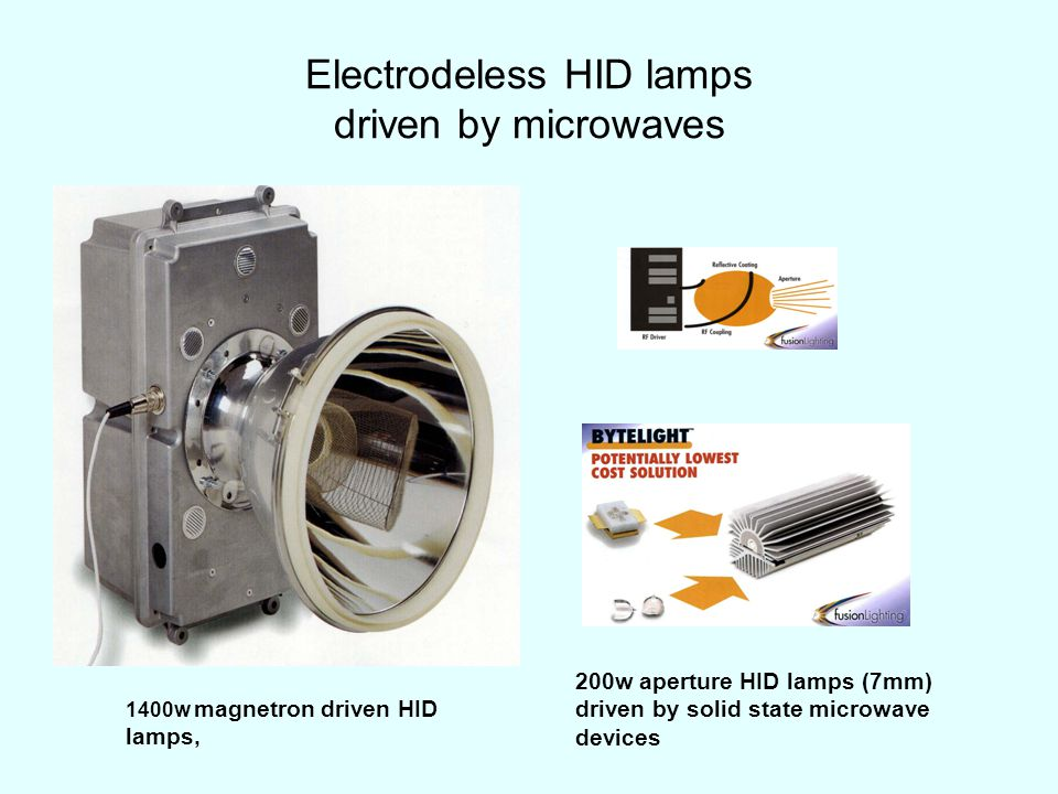 Electrodeless HID lamps driven by microwaves