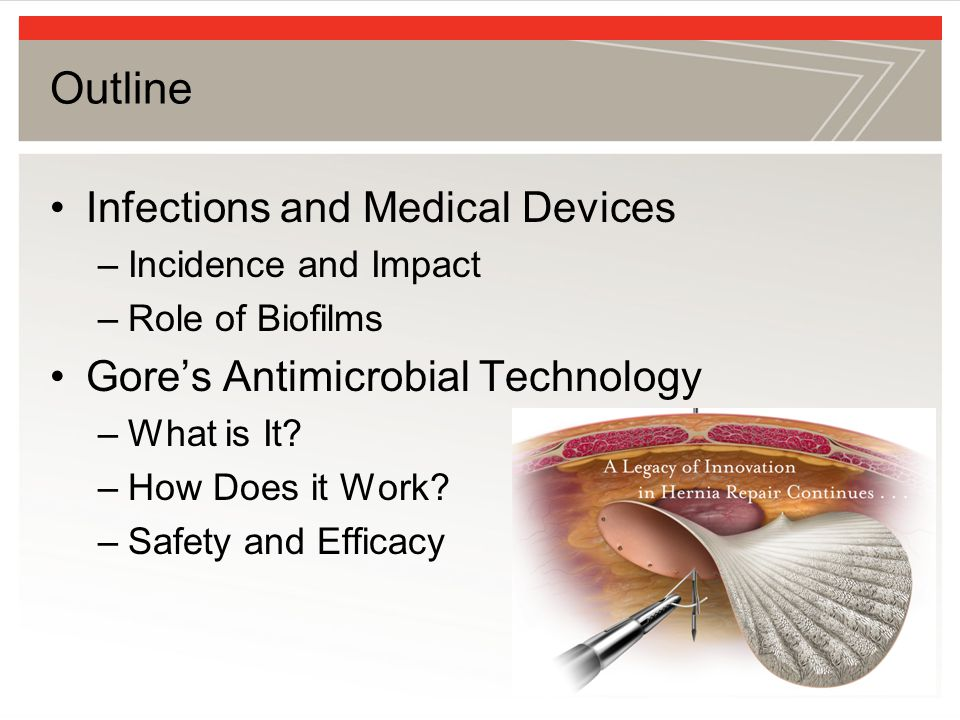 Outline Infections and Medical Devices Gore's Antimicrobial Technology