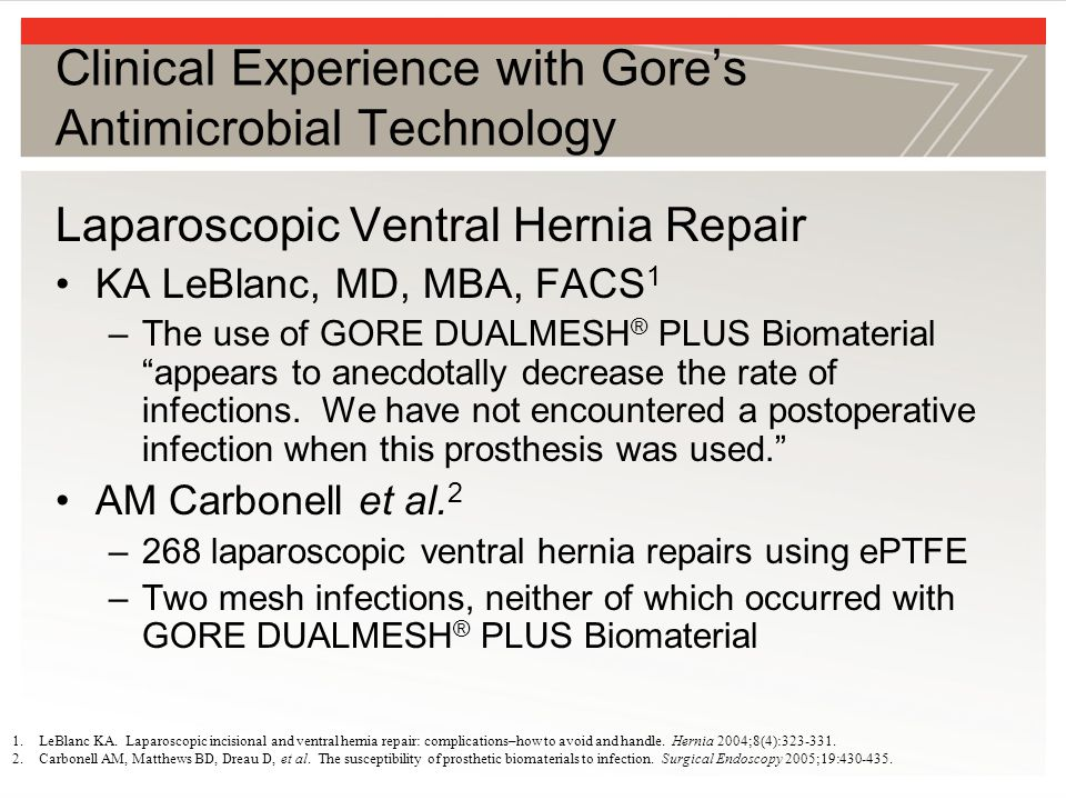 Clinical Experience with Gore's Antimicrobial Technology