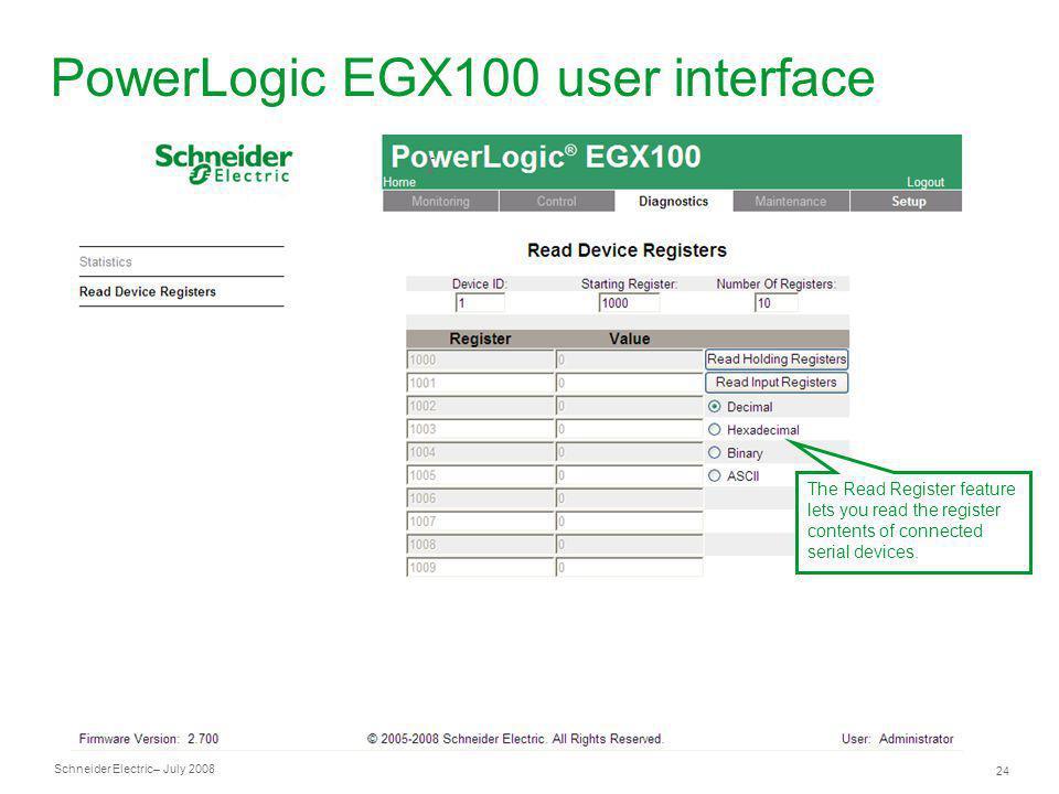 PowerLogic EGX100 user interface
