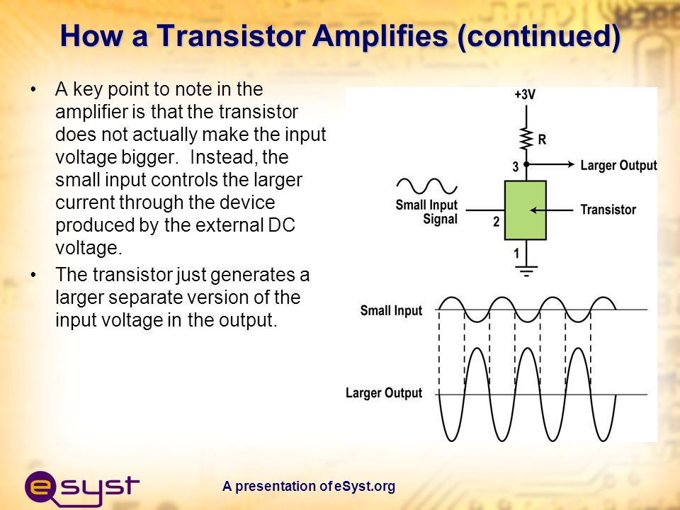 How a Transistor Amplifies (continued)