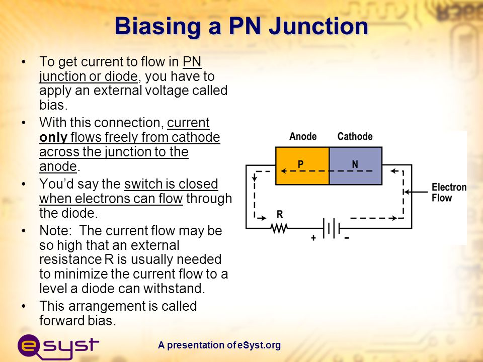 Biasing a PN Junction To get current to flow in PN junction or diode, you have to apply an external voltage called bias.