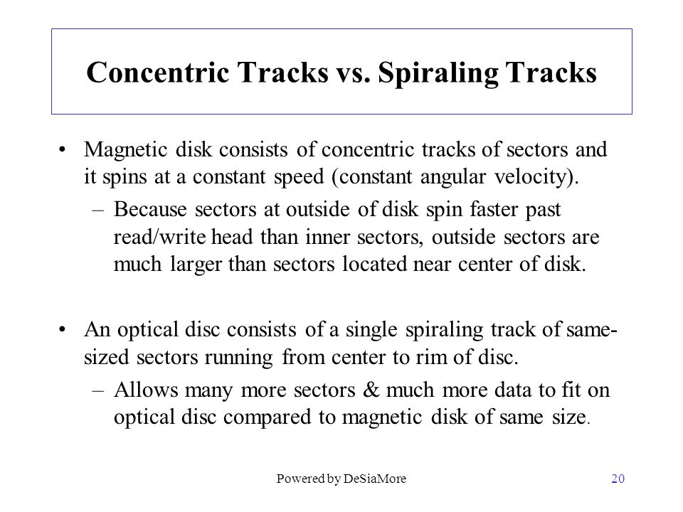 Concentric Tracks vs. Spiraling Tracks
