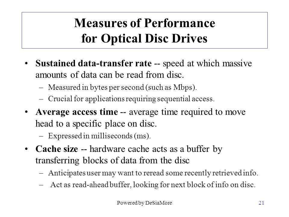 Measures of Performance for Optical Disc Drives