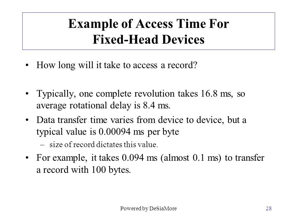 Example of Access Time For Fixed-Head Devices